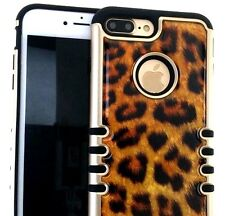 For iPhone 7+ Plus - HYBRID HARD & SOFT RUBBER CASE COVER GOLD LEOPARD CHEETAH