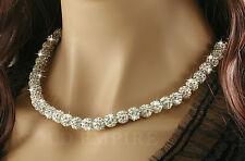 Shamballa Kristall Kugeln Halskette Collier Strass Kette weiß 1244