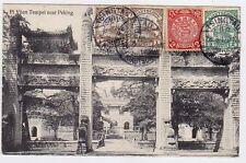 CHINA TSINTAU 1912  German Post Dragon Cover PC  to Denmark Mixed Franking