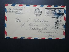US 1929 Airmail Stationery Cover Florida to Conn Via NY - Z10492