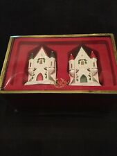 Lenox Holiday Collection Castle Salt and Pepper Shakers Nib Christmas