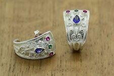 Emerald Ruby Sapphire Etruscan Byzantine STYLE 925 STERLING SILVER GREEK EARRING