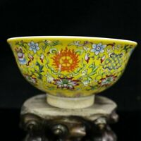 Chinese old porcelain Yellow ground pastel eight-treasure pattern bowl