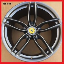 "OEM 20"" FERRARI 488GTB WHEELS FORGED MATTE GREY RIMS CAPS 458 ITALIA 488 MINT"
