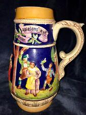 """Rare Retro Antique German Gerz Stoneware Beer Stein Pitcher Jug 9.5"""""""