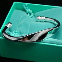 xmas gift solid925 sterling silver jewelry Big Cuff Bangle Bracelet UK SELLER