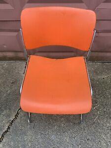 Vintage (David Rowland 40/4) Dark Orange Modern Stacking Steel Chair