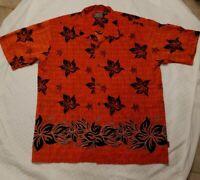 Mens Size  XL Hawaiian Pineapple Connection Shirt, Orange Black Relax Fit