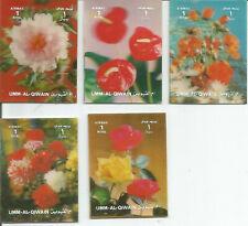 (5) 3D Umm Al Quwain Stamps Mint - Three Dimensional Flowers