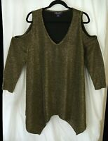 Cold Shoulder *Shimmery* NWOT 14/16 Sz M Muted Yellow ROAMAN'S Tunic, Bust 52 1X