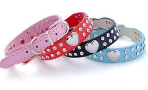 Dog Collar PU Leather Diamante Studded Puppy Terrier Pug Pink XS Small Medium UK