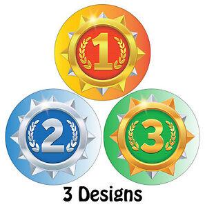 144 x Sports Day Reward Stickers 1st, 2nd, 3rd Award - Parents Teachers Kids