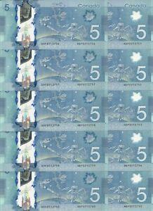 Canada $5 2013 POLYMER Macklem * Poloz #106b Bundle 10 pcs
