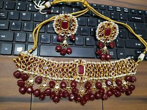 Indian Kundan Gold Plated Bollywood Pearl Choker Necklace Earrings Jewelry Set