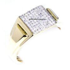 14K Yellow Gold Finish Round Diamond Men's Engagement Wedding Pinky Ring 1.50 Ct