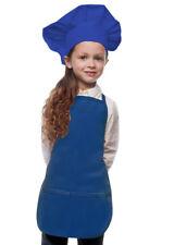Royal Blue Kids Apron & Chef Hat Set High Quality Poly/Cotton Twill Fabric