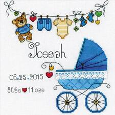 Counted Cross Stitch Birth Announcement Sampler, It's a Boyl ! Blue Stroller