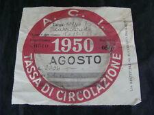 BOLLO ACI 1950 TASSA CIRCOLAZIONE MOTOCARROZZETTA VESPA SCOOTER MOTO EPOCA