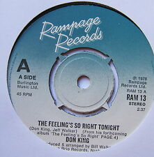 """DON KING - The Feeling's So Right Tonight - Ex Con 7"""" Single Rampage RAM 13"""