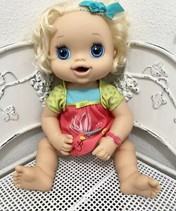 Hasbro My Baby Alive Lot 2010 Interactive Talks Blonde Hair/Pees/Works dress