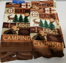 """2 SAME PRINTED COTTON TERRY KITCHEN TOWELS (15"""" x 25"""") HIKING, FISHING, LODGE,MS"""