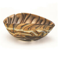 "HOME DECOR - MURANO GLASS DECORATIVE SHELL BOWL - IVORY/ BROWN - 7"" x 4.5"""