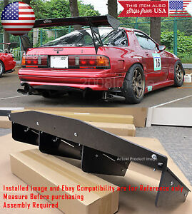 "30"" x 12.5"" ABS Textured Rear Bumper Center 4 Fins Diffuser Fin Black For  Chevy"