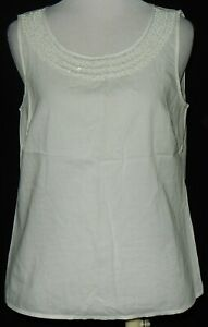 Ann Taylor LOFT Ivory Women's Top Size XS Beaded Sequin Cami Dotted Semi-Sheer #