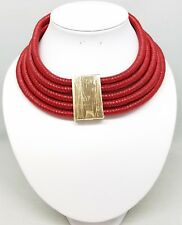 Red Multi 5 Row Layer Metallic Wide Coil Necklace Stacked Choker Collar Strand