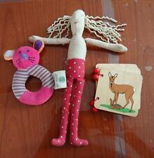 Babyspielzeug 3Teile,Stoffpuppe, Stoffrassel, Holzbuch, gebraucht