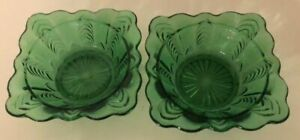 EAPG Pretty pair of green Florida sauces or nappies by US GLASS Mint!!