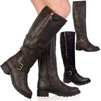 Ladies Knee High Calf Boots Womens Block Heels Fleece Lined Fur Biker Shoes Size