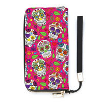 Pink Sugar Skull Print Ladies Wallet Purse Personalised Wrist Strap Money Punk