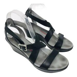 Tsubo Women Olivette Shoes Sz 9.5 Black Leather Platform Wedge Sandals Comfort