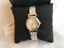 NWT Auth Coach 14501687 Ladies Madison Silver SS Bracelet Bangle Watch C Logo