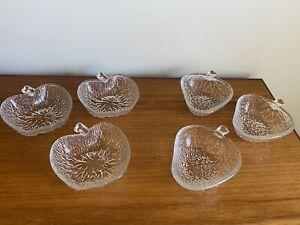 Set of 6 1970's Retro Glass Dessert Dishes - Shape of Strawberries & Apples (B39