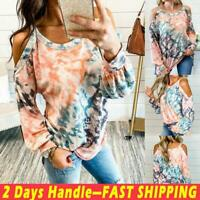 Women Tie Dye Cold Shoulder Long Sleeve Sling Tops T-Shirt Loose Blouse Pullover