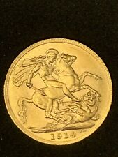 More details for 1914 ww i end circulated sovereign 22ct gold set high grade boxed + coa george v