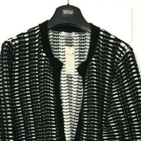 M&S Marks Ladies PerUna Luxe Black Textured Chunky Open Cardigan Jacket 24 BNWT