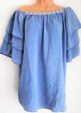 New Lagenlook Blue Daisy Detail frill off shoulder Tunic Top Onesize 12 14 16 18
