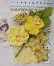 SUNSHINE Yellow & Green Mix 5 Styles = 13 PAPER & SILK Flowers 15-50mm acrossVC1