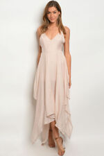 Misses Sexy Blush Pink Maxi Dress Sundress with Asymmetrical Hem SZ Large NWT