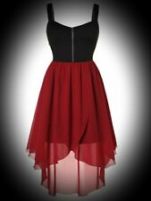 New Black & Red Gothic Zip Front Chiffon High Low Tulip Hem Dress size 3XL 24 26