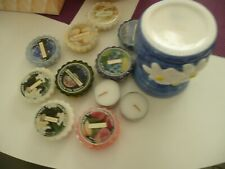 9 Yankee Candle Wax Potpourri Tarts Assorted Aromas +2 candles + Holder