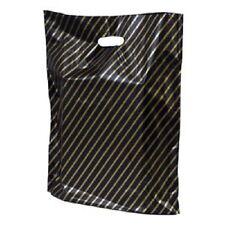 50 x Black /Gold Stripe Small Plastic Carrier Fashion Boutique Bags 18cm x 25cm