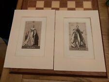 2x Antique Engraving A. Krausse Portrait By Winterhalter Queen Victoria & Albert