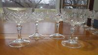 Cut Crystal Champagne Glasses Tall Sherbets Pineapple top design elegant stem 4