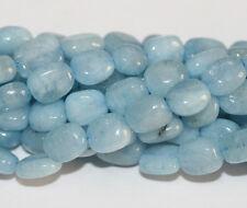"15"" Fine Aquamarine Rectangular Pillow Beads Top Blue"