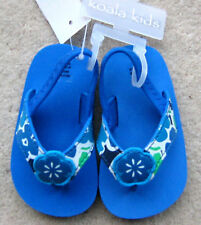 NWT: New So Cute 9-12 Month Koala Kids Blue Flower Flip Flops With Back Straps