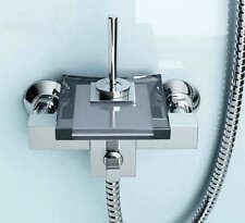 Bath  Black Glass&Brass Waterfall Bathtub Mixer Faucet with Handheld Shower Set